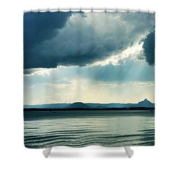 Rain On The Glass Mountains Shower Curtain