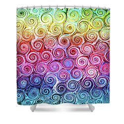 Rainbow Abstract Swirls Shower Curtain