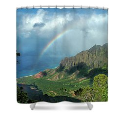Rainbow At Kalalau Valley Shower Curtain by James Eddy