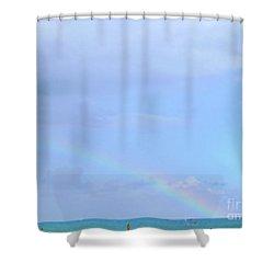 Shower Curtain featuring the digital art Rainbow At The Beach 1 by Francesca Mackenney