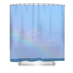 Shower Curtain featuring the digital art Rainbow At The Beach 2 by Francesca Mackenney