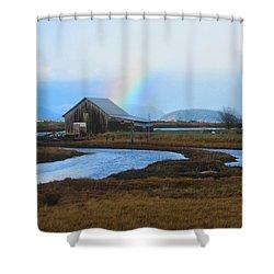 Rainbow, Bay, And Barn Shower Curtain