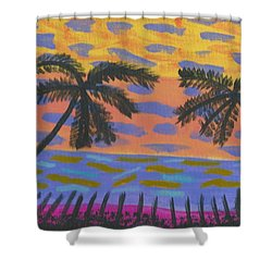 Shower Curtain featuring the painting Rainbow Beach by Artists With Autism Inc