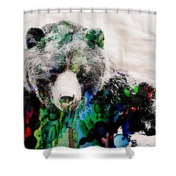 Rainbow Bear Watercolor Print Poster Shower Curtain