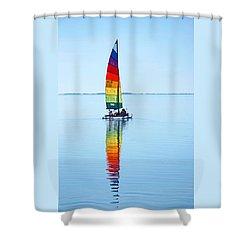 Rainbow Catamaran Shower Curtain