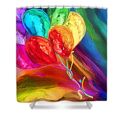 Shower Curtain featuring the mixed media Rainbow Chaser by Carol Cavalaris