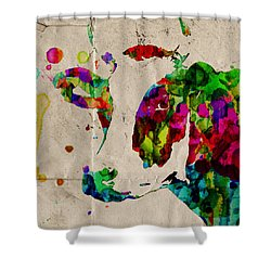 Rainbow Cow Print Poster Shower Curtain