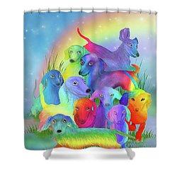 Shower Curtain featuring the mixed media Rainbow Dachshunds 1 by Carol Cavalaris