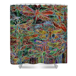 Shower Curtain featuring the mixed media Rainbow Dragonflies by Carol Cavalaris