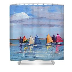 Rainbow Fleet Parade At Brant Point Shower Curtain by Trina Teele