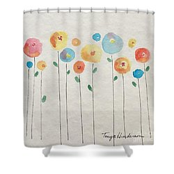 Rainbow Floral Shower Curtain