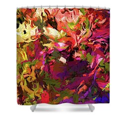 Rainbow Flower Rhapsody Purple Green Shower Curtain