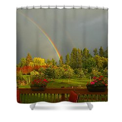 Rainbow From The Back Deck Shower Curtain by Karen Molenaar Terrell