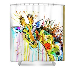 Shower Curtain featuring the painting Rainbow Giraffe by Zaira Dzhaubaeva