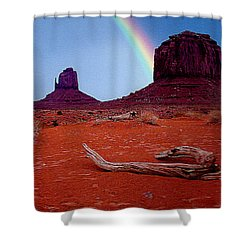 Rainbow In Monument Valley Arizona Shower Curtain