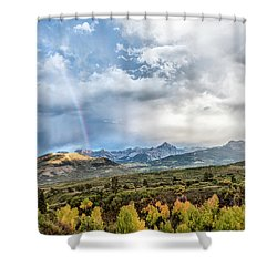 Shower Curtain featuring the photograph Rainbow In The San Juan Mountains by Jon Glaser