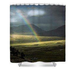 Rainbow In The Valley Shower Curtain by Andrew Matwijec