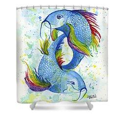 Shower Curtain featuring the painting Rainbow Koi by Darice Machel McGuire
