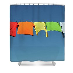 Rainbow Laundry, Bright Shirts On A Clothesline Shower Curtain