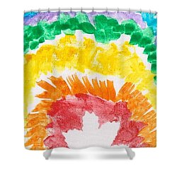 Shower Curtain featuring the painting Rainbow Leaf by Artists With Autism Inc