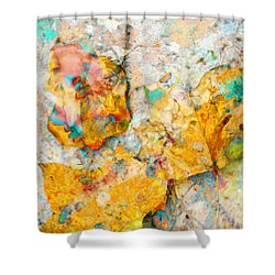 Rainbow Leaves Aqua Shower Curtain