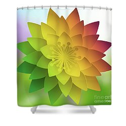 Rainbow Lotus Shower Curtain by Mo T