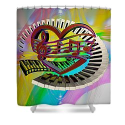 Rainbow Love Of Music  Shower Curtain by Louis Ferreira