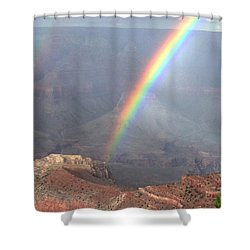 Rainbow Meets Mather Point Shower Curtain