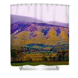 Rainbow Mountain Shower Curtain by DigiArt Diaries by Vicky B Fuller