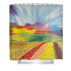 Rainbow Of Flowers Shower Curtain by Meryl Goudey