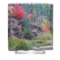 Rainbow Of The Season With River Shower Curtain