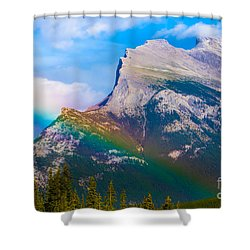 Rainbow On Mt Rundle Shower Curtain by John Roberts