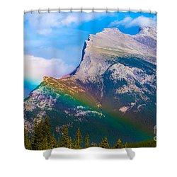 Rainbow On Mt Rundle Shower Curtain