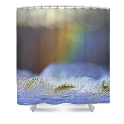 Rainbow On The Banzai Pipeline At The North Shore Of Oahu 2 To 1 Ratio Shower Curtain by Aloha Art