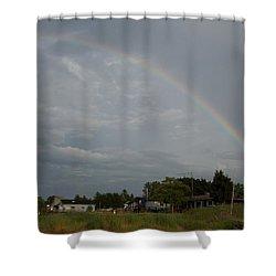 Rainbow Over Beach Cottages Shower Curtain