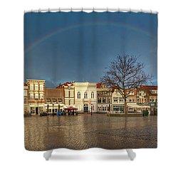 Rainbow Over Market Place Gouda Shower Curtain