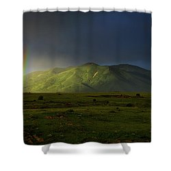 Rainbow Over Mount Ara After Storm, Armenia Shower Curtain by Gurgen Bakhshetsyan