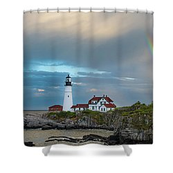 Rainbow Over Portland Head Light Shower Curtain