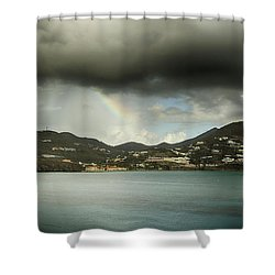 Shower Curtain featuring the photograph Rainbow Over St. Maarten by Coby Cooper