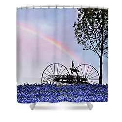 Rainbow Over Texas Bluebonnets Shower Curtain by David and Carol Kelly