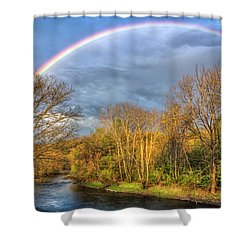Shower Curtain featuring the photograph Rainbow Over The River by Debra and Dave Vanderlaan