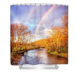 Shower Curtain featuring the photograph Rainbow Over The River II by Debra and Dave Vanderlaan