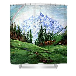 Rainbow Over The Snow Covered Mountain Shower Curtain