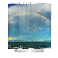 Rainbow Over Topsail Island Shower Curtain by John Pagliuca