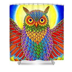 Rainbow Owl Shower Curtain