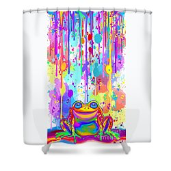 Shower Curtain featuring the painting Rainbow Painted Frog  by Nick Gustafson