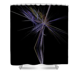 Shower Curtain featuring the digital art Rainbow Palm by Sara  Raber