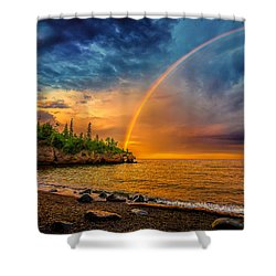 Rainbow Point Shower Curtain by Rikk Flohr