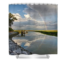 Rainbow Reflection Shower Curtain by Patricia Schaefer