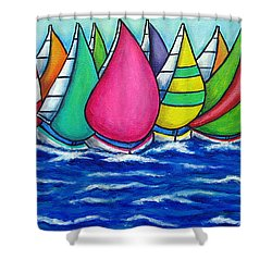 Rainbow Regatta Shower Curtain by Lisa  Lorenz